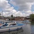 Day boats on the river Bure at Wroxham. - Stock Photo