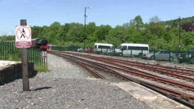 Entrando en una estación de tren de vapor. — Vídeo de Stock