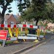 Road work warning signs and barriers — Foto Stock