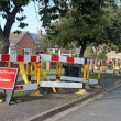 Road work warning signs and barriers — Stock Photo