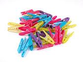 Multicoloured plastic clothes pegs. — Stockfoto