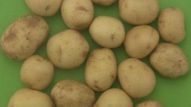 Fresh organic potatoes a green  background. — Stock Video