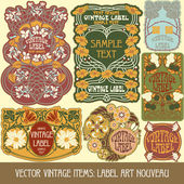 Etiket art nouveau — Stok Vektör