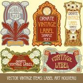 Etiqueta de estilo art nouveau — Vector de stock