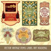Label art nouveau — Vecteur