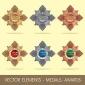 Vektör öğeleri - madalya, ödülleri — Stok Vektör