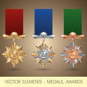 Vector elements - medals, awards — Stok Vektör