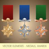 Wektor elementów - medale, nagrody — Wektor stockowy