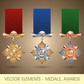Vektorelement - medaljer, utmärkelser — Stockvektor