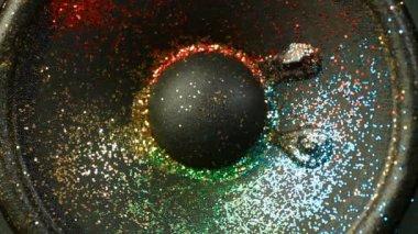 Glitter On Loudspeaker — Stock Video