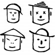 Smile doodle faces — Stock Photo