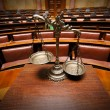 Decorative Scales of Justice in the Courtroom - Stock Photo