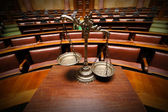 Decorative Scales of Justice in the Courtroom — Stok fotoğraf