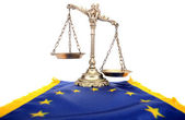 Scales of justice and Flag of European union flag — Stock Photo