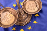 Scales of justice and Flag of European union — Stock Photo