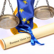 Scales of Justice, Europeunion flag and Europeunion law — Foto de stock #22878306
