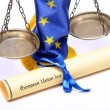 Stock Photo: Scales of Justice, Europeunion flag and Europeunion law