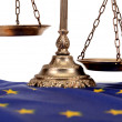 Scales of justice on the European Union flag — Stok fotoğraf