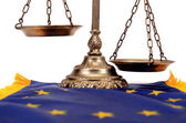 Scales of justice on the European Union flag — Stock Photo