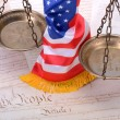 Stock Photo: Scales of justice , Americflag and US Constitution