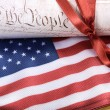 Stock Photo: United States of AmericConstitution and USflag