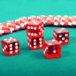 Stock Photo: Poker gambling chips on green playing table