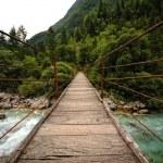 Wooden bridge over the mountain river — Stock Photo #26276295