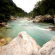Emerald mountain river Soca, Slovenia — Stock Photo