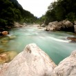 Emerald mountain river Soca, Slovenia — Stockfoto