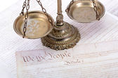 United States of America Constitution and Scales of Justice — Stock Photo
