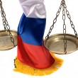 Scales of Justice and Russian Federation flag — Stock Photo