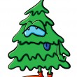 Fatigue cartoon Christmas Tree — Stock Vector