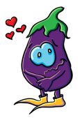 Funny cartoon eggplant in love — Stock Vector