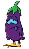 Funny cartoon eggplant is tired — Vettoriale Stock