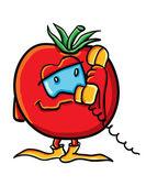 Vtipné kreslené rajče s telefonem — Stock vektor