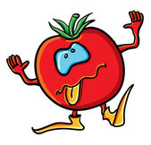 Funny cartoon tomato is tongueing — Vettoriale Stock