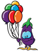 Funny cartoon eggplant with balloons — Vettoriale Stock