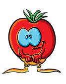 Funny cartoon tomato in shorts — Vettoriale Stock