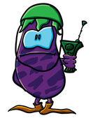 Grappige cartoon aubergine is een soldaat — Stockvector