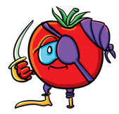 Funny cartoon tomato is pirate — Vettoriale Stock