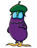 Funny cartoon eggplant is creative — Stock Vector