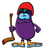 Grappige cartoon aubergine is hockey — Stockvector
