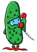 Funny cartoon cucumber with phone — Vettoriale Stock