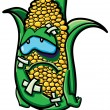 Funny battered cartoon corn - Stock Vector