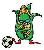 Funny cartoon corn is the football — Stock Vector