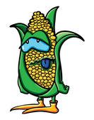 搞笑累的卡通玉米 — 图库矢量图片