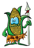 Funny savage cartoon corn — Vettoriale Stock