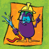 Funny cartoon eggplant on the bright background — Stock Vector