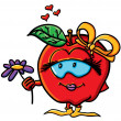 Funny cartoon apple is a girl - Imagen vectorial