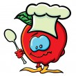 Funny cartoon apple is a cook - Vettoriali Stock